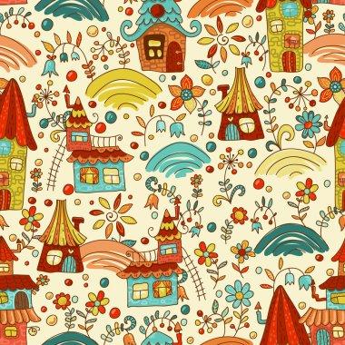 Sweet cartoon homes seamless pattern
