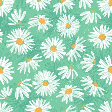 Hand drawn pretty daisies seamless pattern