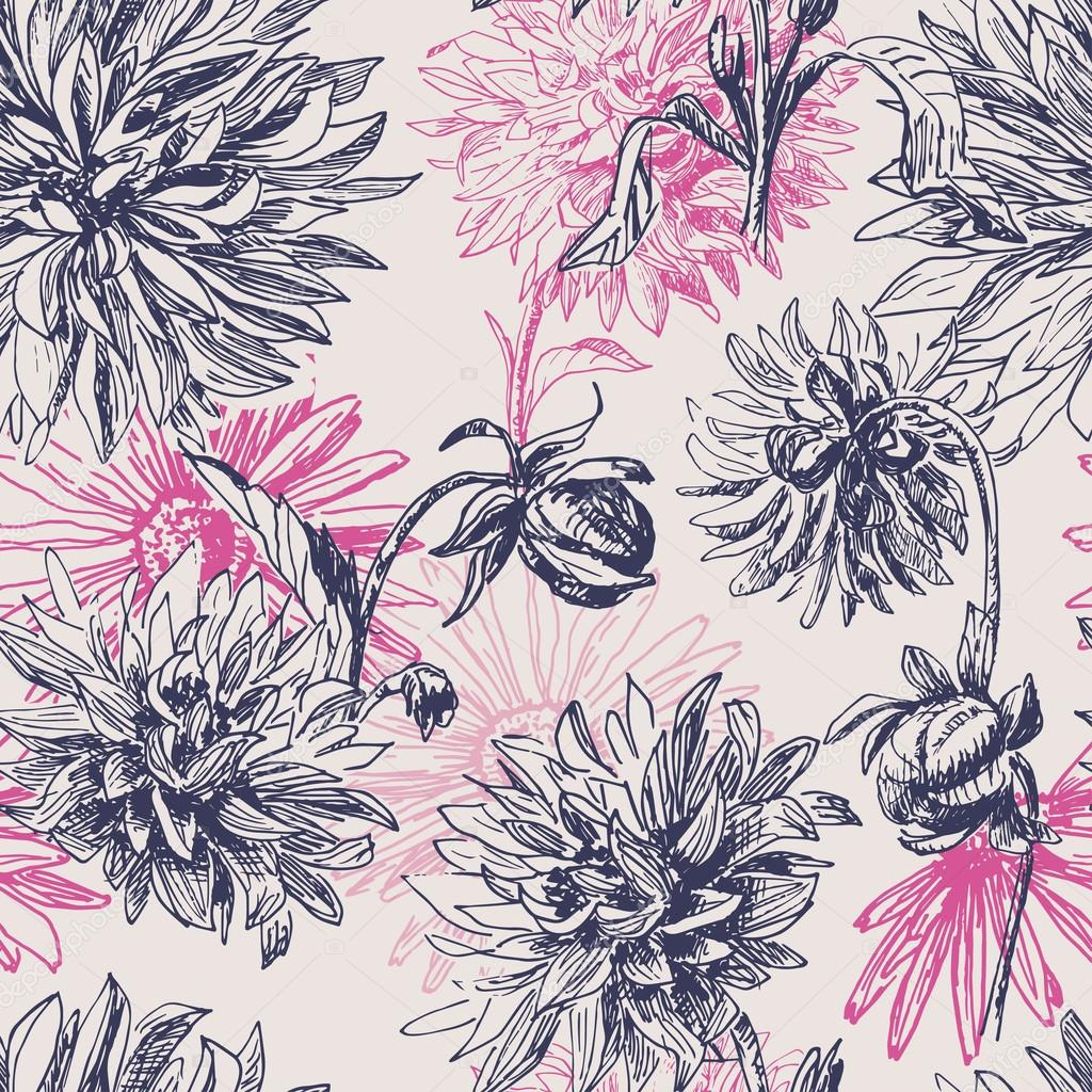 Elegance  vintage dahlia flowers seamless pattern