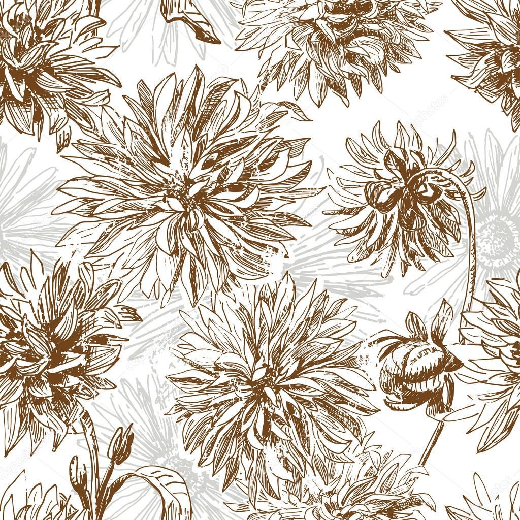 Vintage Dalia flores de patrones sin fisuras — Archivo Imágenes ...