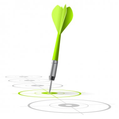 Marketing strategy symbol. One green dart hitting the center of a target with many grey other targets in a row. Vector file, white background stock vector