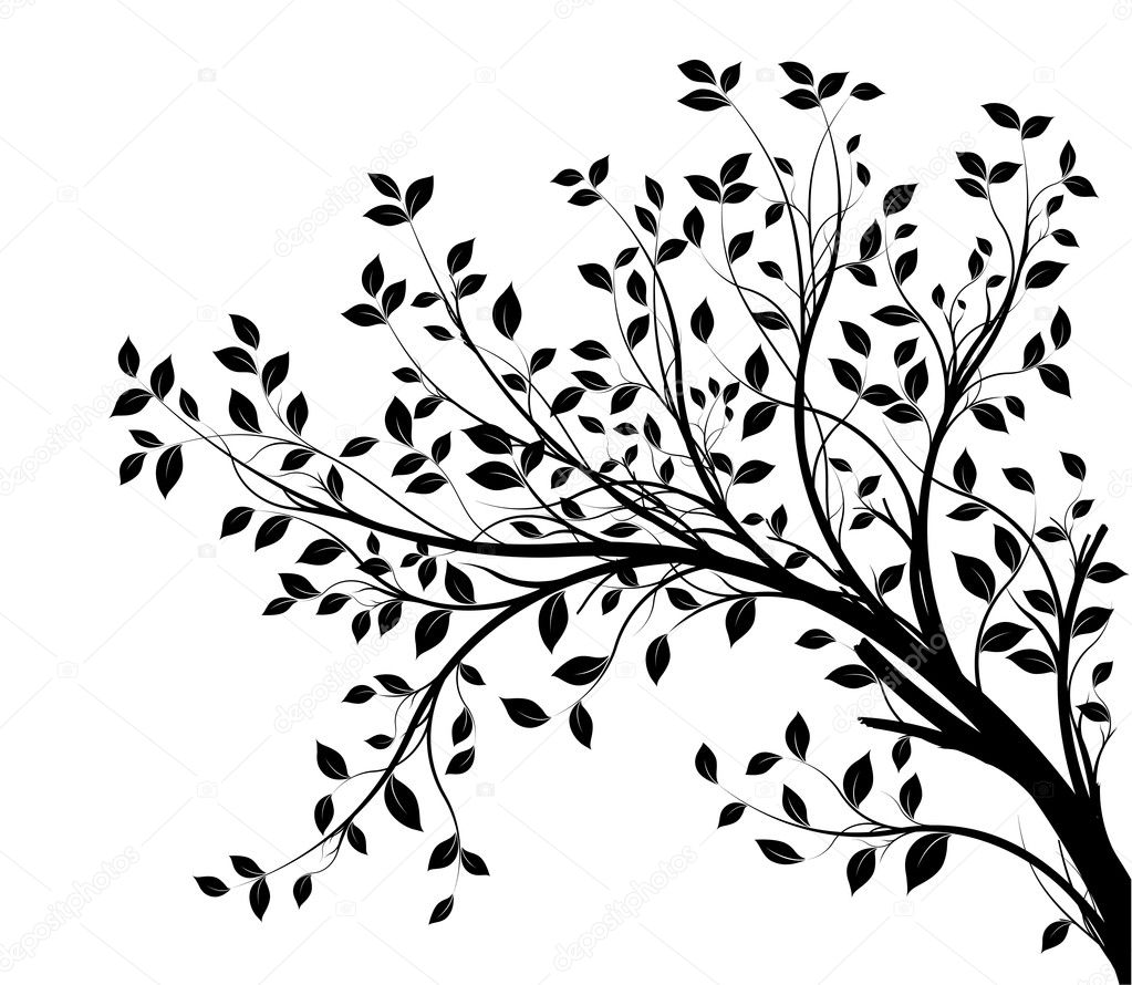 Vector tree branch, black silhouette