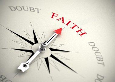 Faith versus doubt, religion or confidence concept