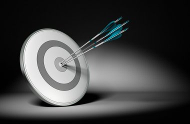 Three arrow hit the center of a grey design target, 3d render with black background and light effect. Concept image suitable for improving performance or achieving results stock vector