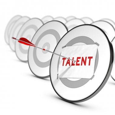 One arrow hitting the center of a grey target. A sheet of paper with the word TALENTS is fixed on it. Many other targets around the main one. Concept of talents recruitment. stock vector
