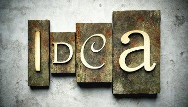Idea concept with vintage letterpress