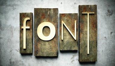 Font concept with vintage letterpress