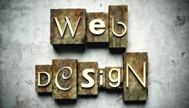 Web design concept, retro vintage letterpress type on grunge background stock vector