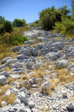Rocky path leading to the top of the mountains
