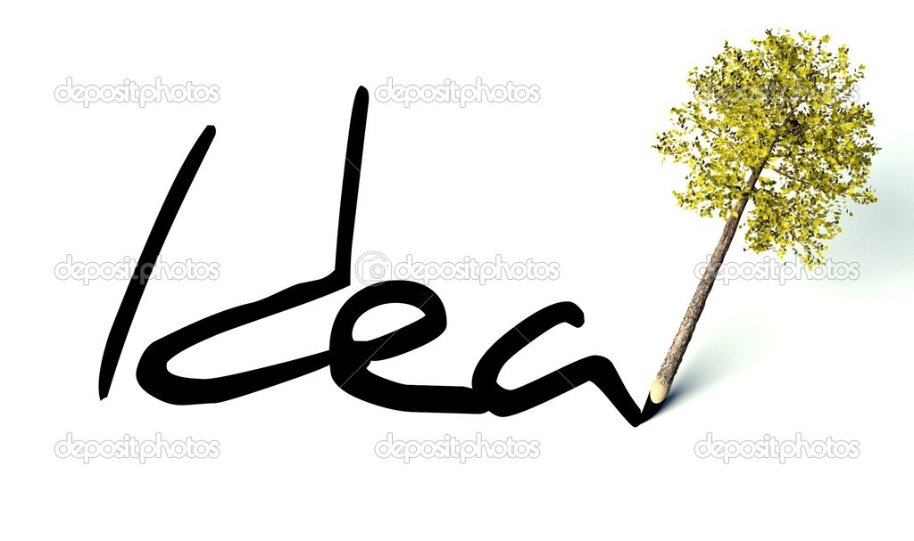 Idea concept, ecology wooden pencil tree