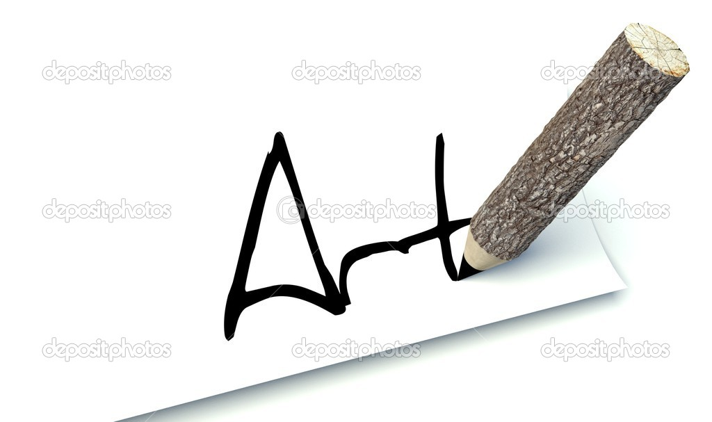 Art concept, ecology wooden pencil tree trunk