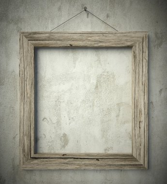 Simple old circle wooden frame, vintage background