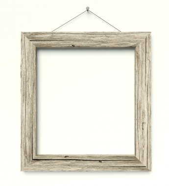 Simple old circle wooden frame, vintage background