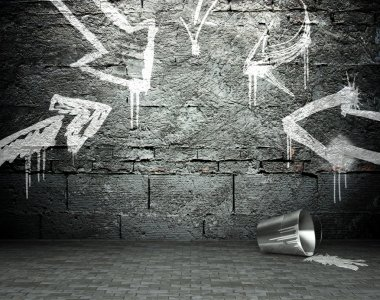 Graffiti wall with frame and arrows, street background