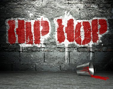 Graffiti wall with hip hop, street background