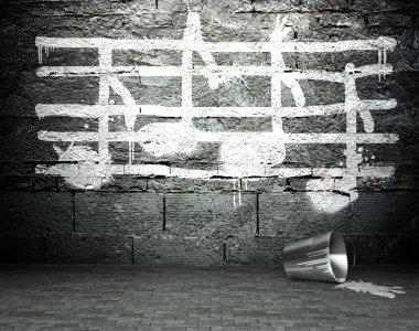 Graffiti duvar sokak arka plan müzik notlar işaretiyle