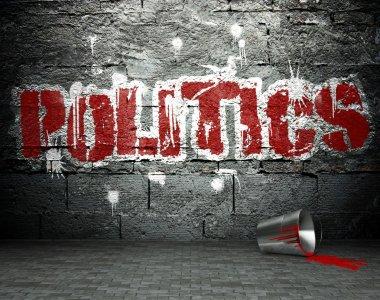Graffiti wall with politics, street background
