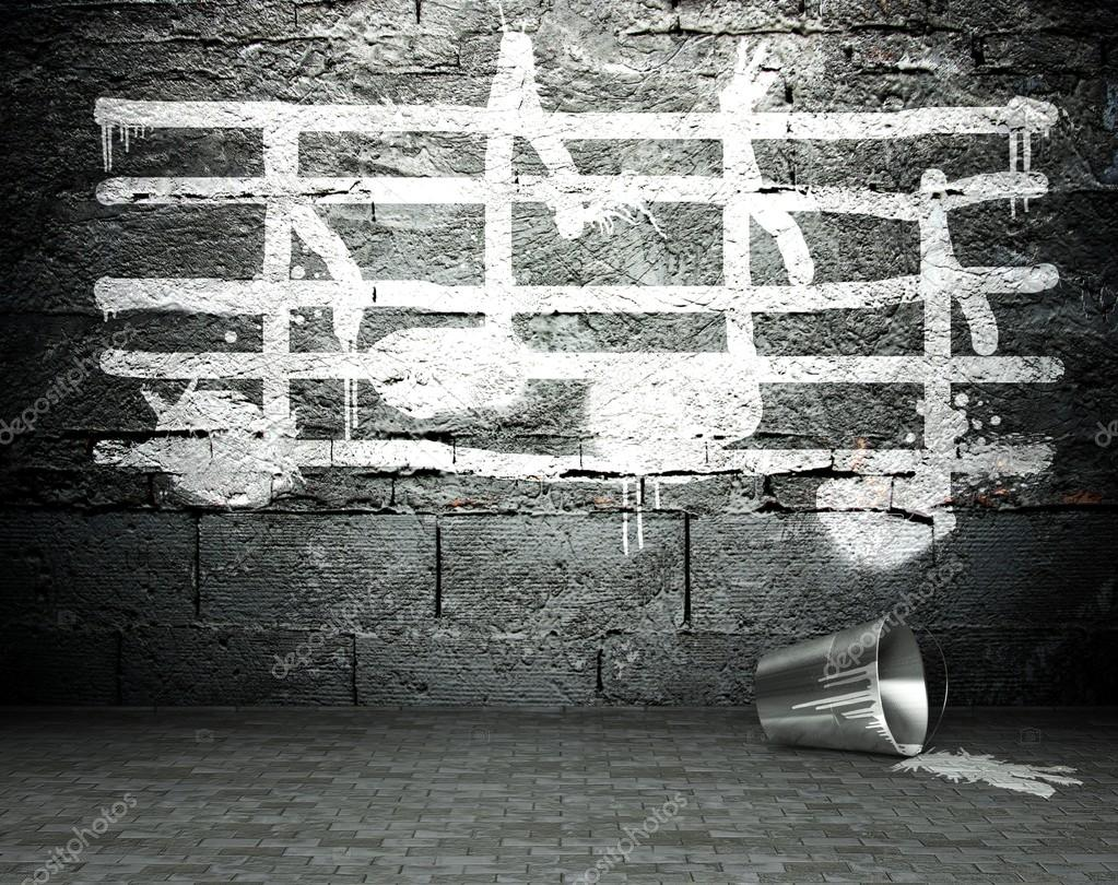 Graffiti wall with music notes sign, street background