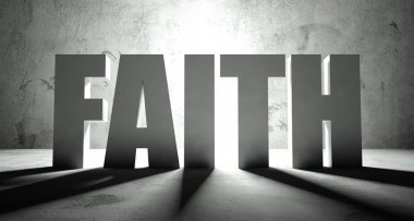 Faith word with shadow, background
