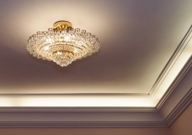 Crystal chandelier hanging on ceiling