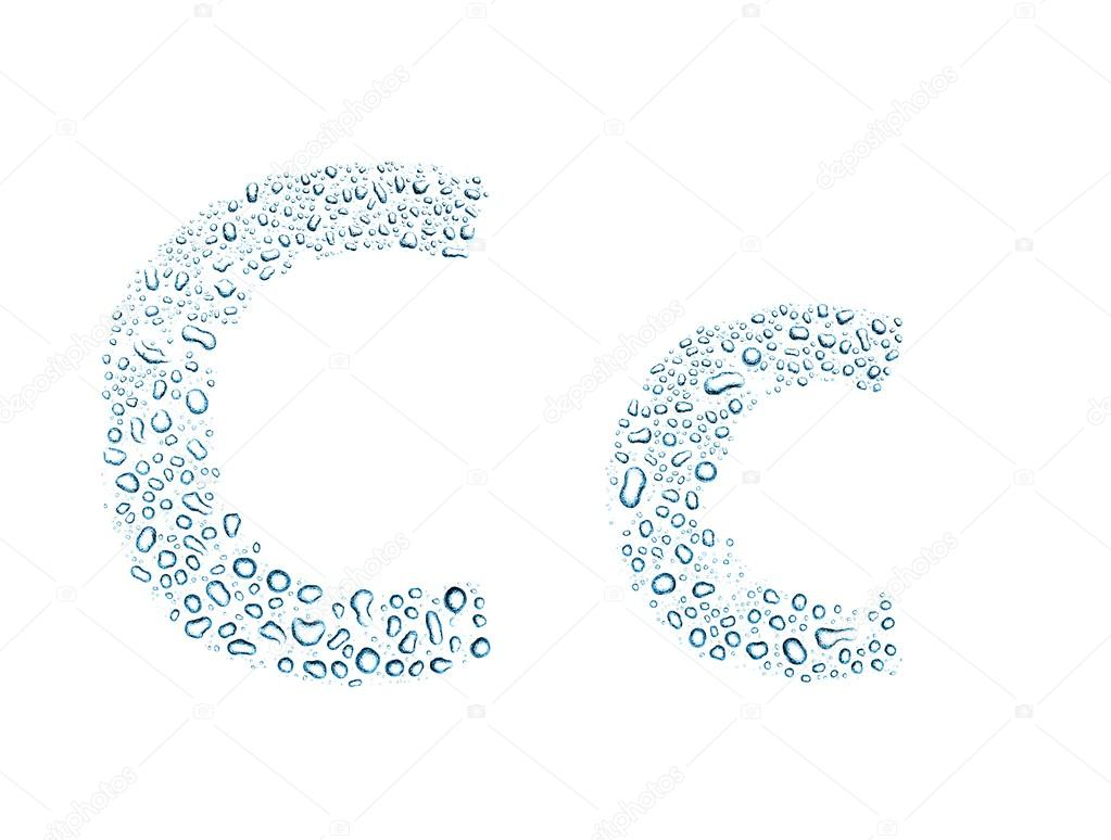 Water drops alphabet letter c, isolated white