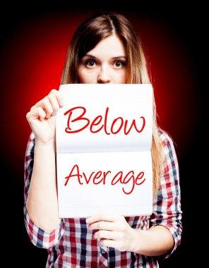 Evaluation below average, surprised woman