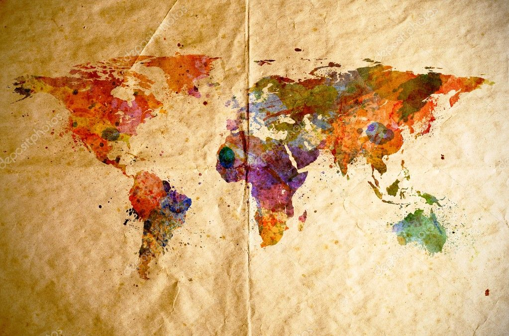 Watercolor world map old paper background Stock Photo