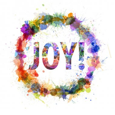 Joy concept, watercolor splashes as a sign isolated on white stock vector