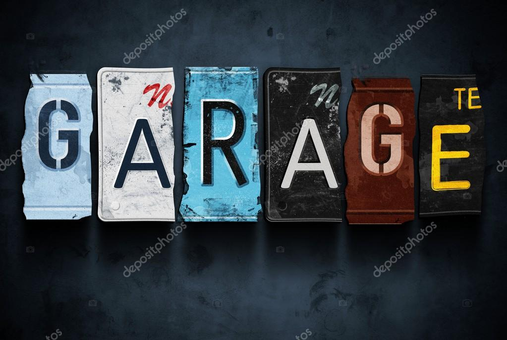 Garage word on vintage car license plates, concept sign — Stock ...
