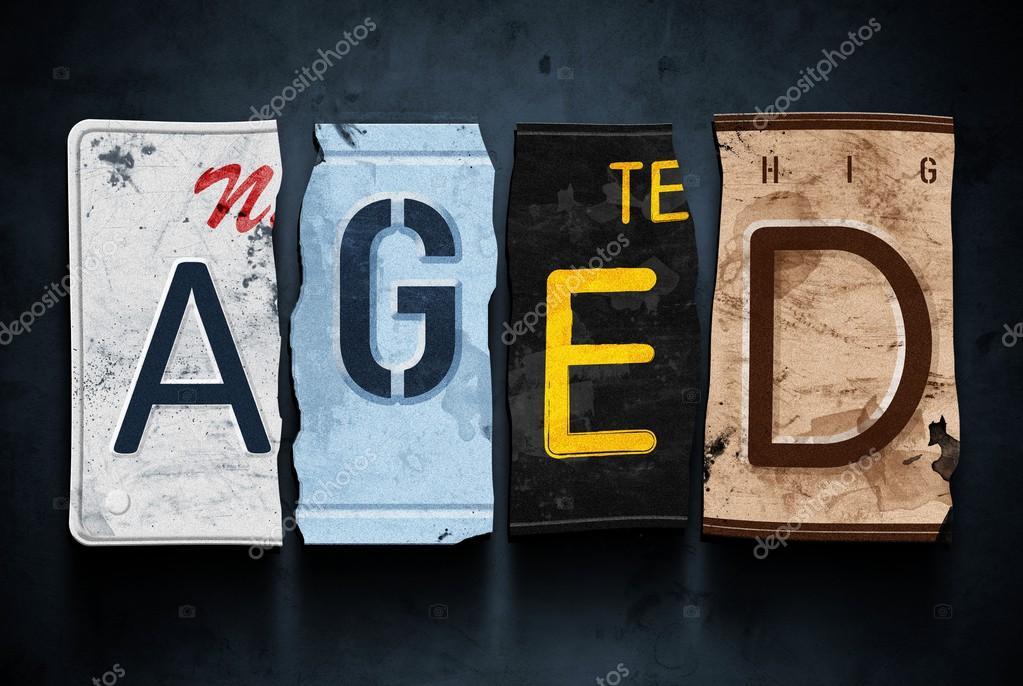Leeftijd Woord Over Oldtimers Nummerplaten Concept Teken