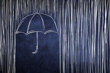 Umbrella and rain, conceptual sketch on chalkboard