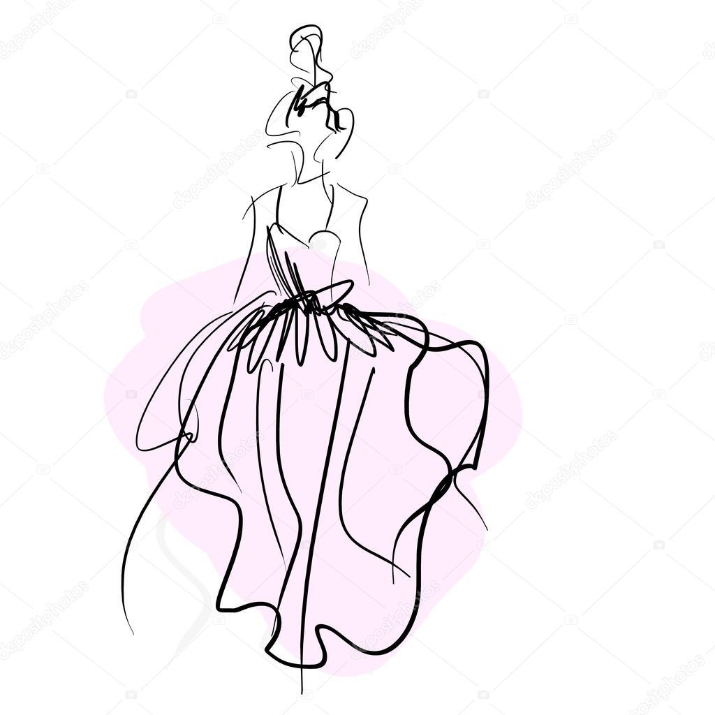 concepto novia las mujeres en vestido de boda, bosquejo de moda ...