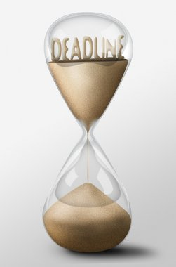 Hourglass with Deadline made of sand. Concept of passing time