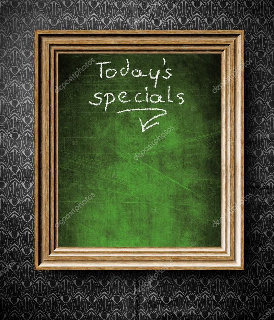 todays special with copy space chalkboard in old wooden frame