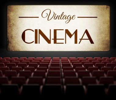 Vintage cinema movie in old retro interior