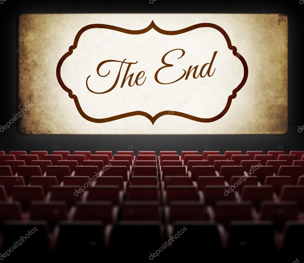The End screen of Movie in old retro cinema
