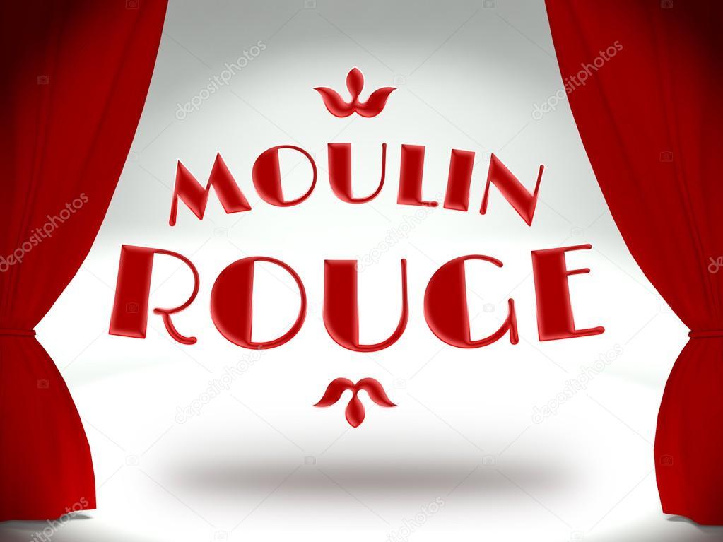 moulin rouge en el escenario de teatro con cortinas rojas u foto de stock