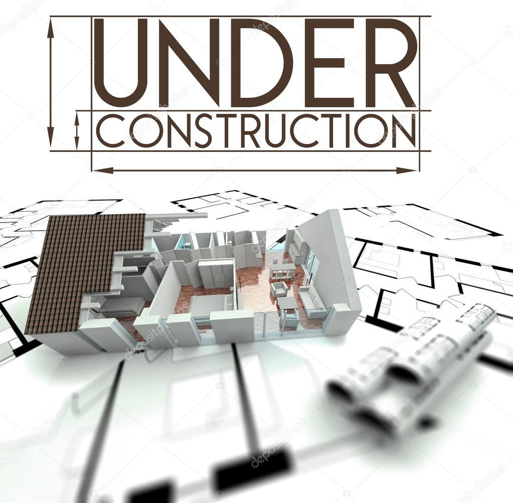 unter Zeichen Bau Projekt von Haus auf Blaupausen — Stockfoto ...