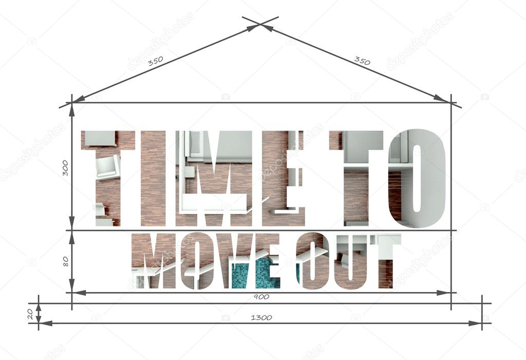 Time To Move Out Slogan In House Blueprint Stock Photo 38728619