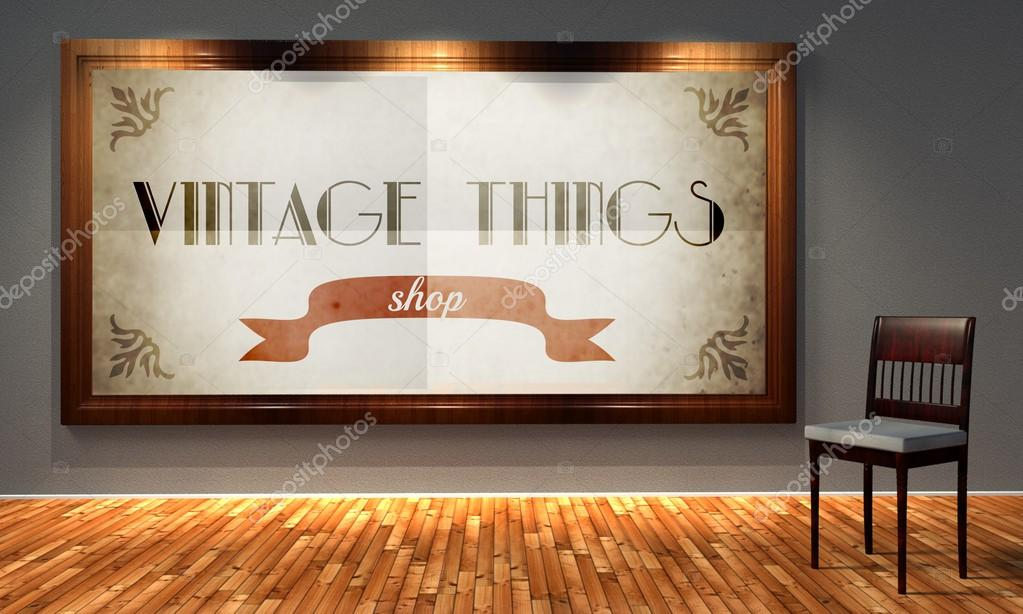 tienda vintage cosas en viejo Marco envejecido — Fotos de Stock ...