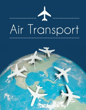 Air transport concept, airplanes on earth
