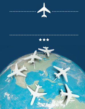 Air travel concept, airplanes on earth with copy space