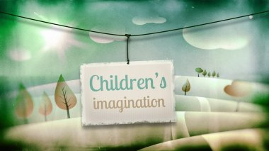 Children's imagination, vintage children illustration