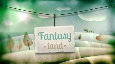 Fantasy land, vintage children illustration