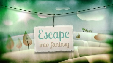 Escape into fantasy, vintage children illustration