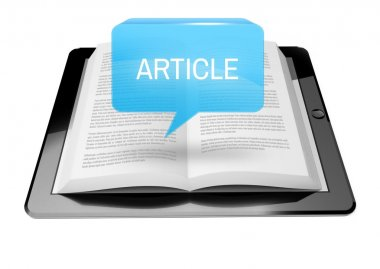 Article icon button above ebook reader tablet