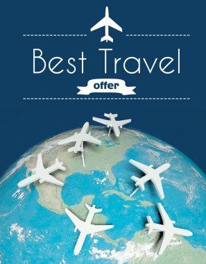 """Картина, постер, плакат, фотообои """"лучшая концепция туристического предложения, самолеты на земле """", артикул 39699405"""