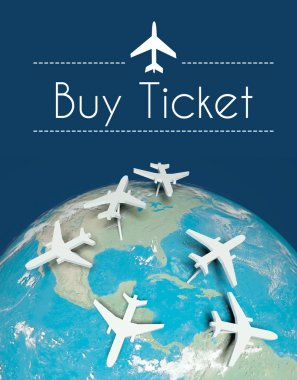 Buy ticket air travel concept, airplanes on earth