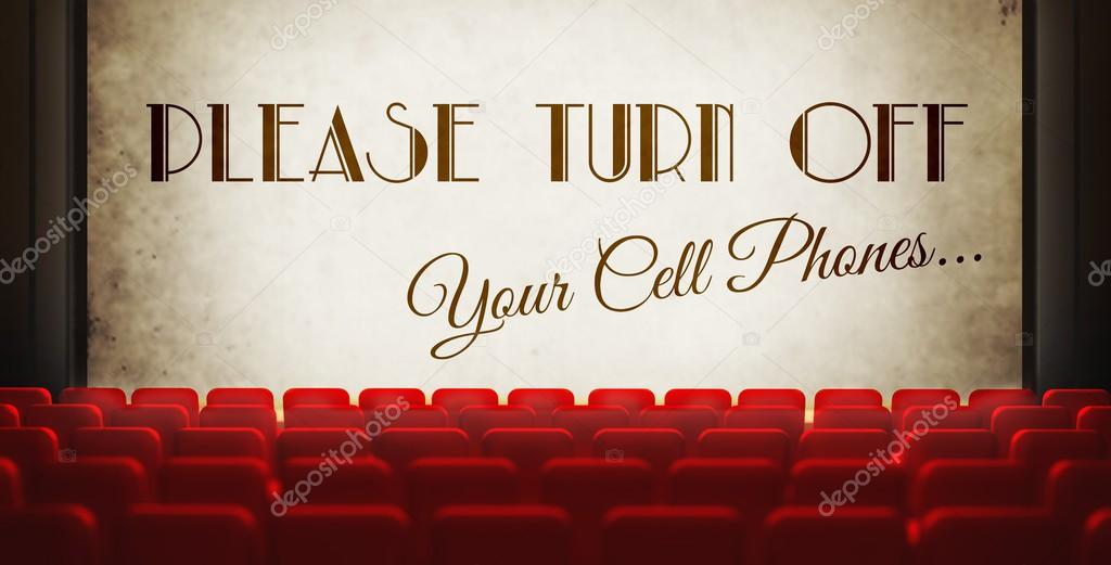 Ideal Please turn off cell phones screen in old retro cinema — Stock  JF79