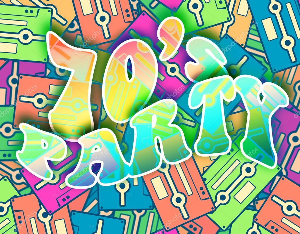 70s poster design - 70s Party Retro Concept Vintage Poster Design Stock Image